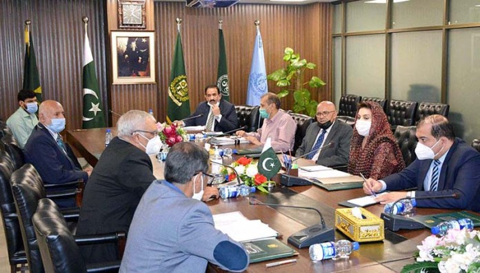 ISLAMABAD: November 05 - President Pakistan Sports Board, Dr. Fehmida Mirza chairing a meeting with the representatives of Pakistan Olympic Association regarding the hosting of 14th South Asian Games. APP
