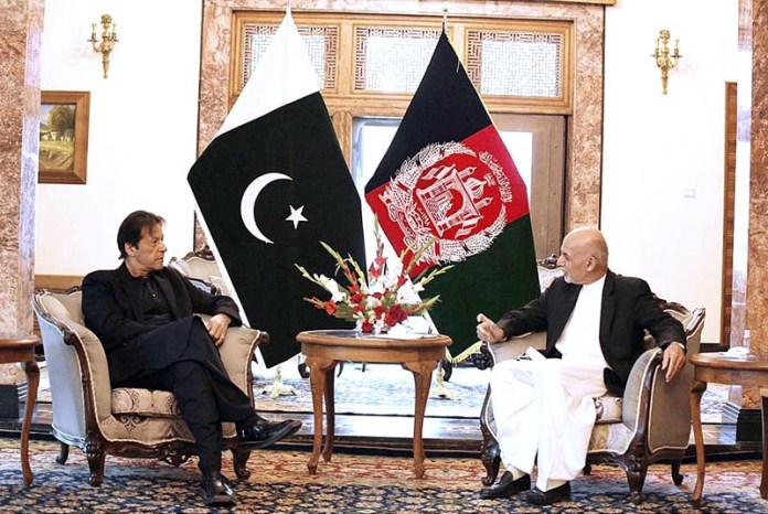 Prime Minister Imran Khan and President of Afghanistan Ashraf Ghani during a tete-a-tete at the Presidential Palace