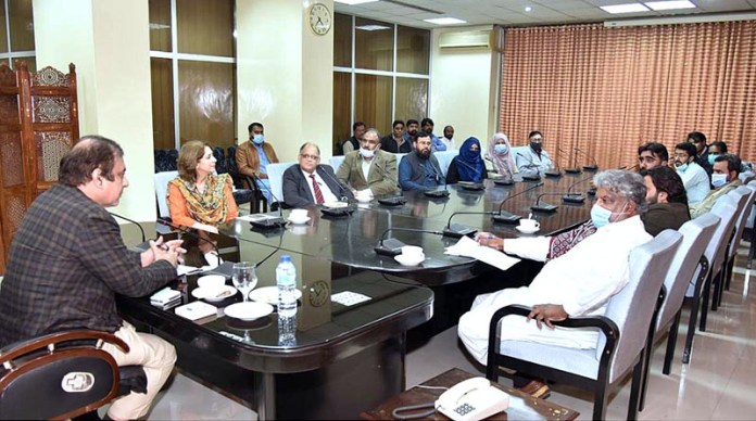ISLAMABAD: November 10 - Federal Minister for Information and Broadcasting Senator Shibli Faraz chairing a meeting at Radio Pakistan. APP