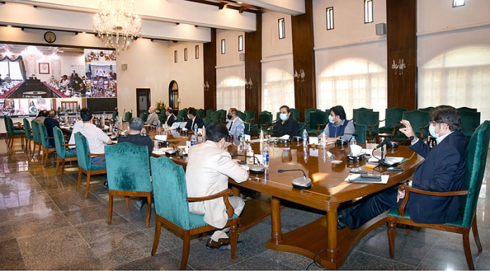 KARACHI: November 03 – Sindh Chief Minister Syed Murad Ali Shah through video link from CM House participating in National Coordination Committee meeting held under the chairmanship of Prime Minister Imran Khan in Islamabad. APP