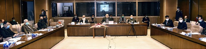 Speaker National Assembly Asad Qaiser chairing the Parliamentary Committee on Corona Virus Disease at Parliament House