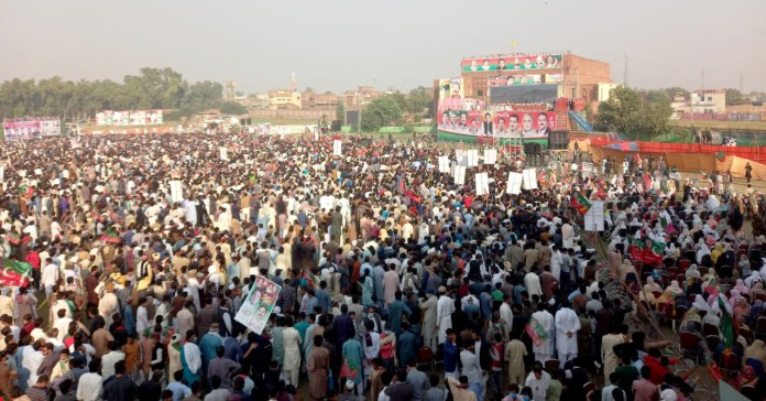 A PTI gathering at Hafizabad, addressed by Prime Minister Imran Khan