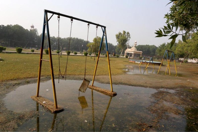 A view of damaged Swing at Rani Bagh need the attention of concerned authorities