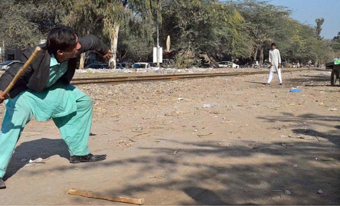 Youngsters playing traditional game in Tiwana Park