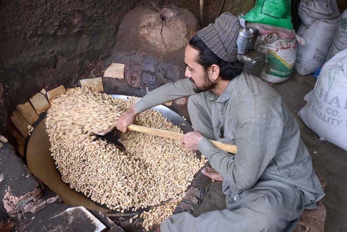 A worker busy in roasting peanuts at Firdous Market