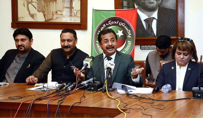 MPA Haleem Adil Sheikh addressing a press conference at Sindh Assembly