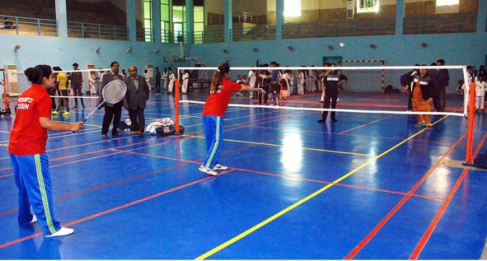 A view of badminton match between Bahawalpur and Bahawalnagar teams during Commissioner Cup Sports Gala 2020
