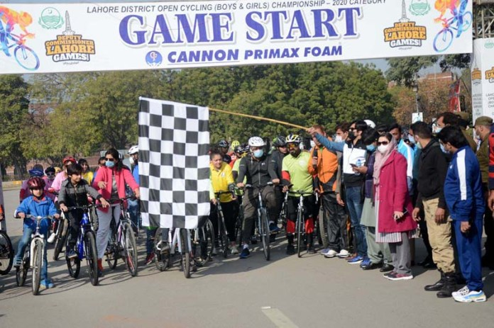 Cyclists participating in race during Deputy Commissioner Lahore Games at Nishtar Sports Complex