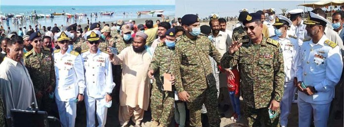 Vice Admiral Pak-Navy Zahid Ilyas meets with fishermen on the eve of 62 celebrations of Gwadar Day