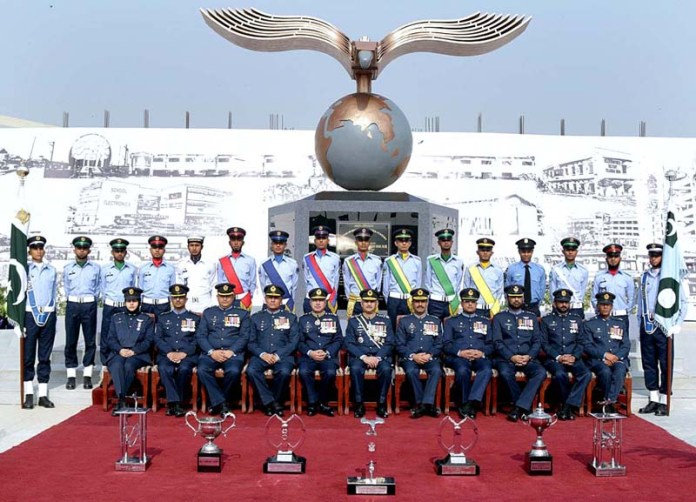 Air Chief Marshal Mujahid Anwar Khan, Chief of the Air Staff, Pakistan Air Force along with the distinction holders during the passing out parade of Aero Apprntices at PAF Airmen Academy, Korangi Creek