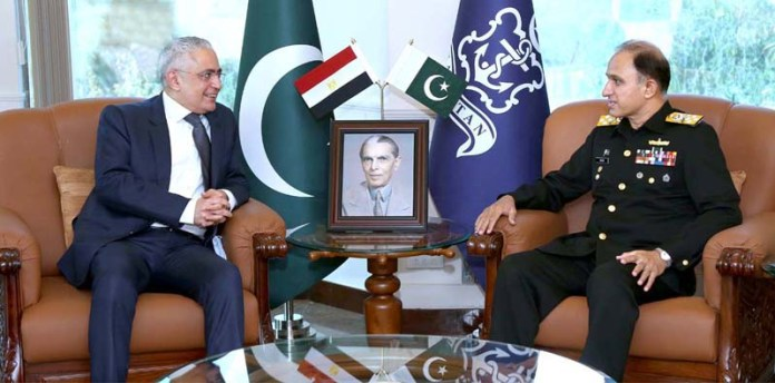 Chief of the Naval Staff, Admiral Muhammad Amjad khan Niazi exchanging views with Egyptian Ambassador to Pakistan, Mr Tarek Mohamed Dahroug at Naval Headquarters