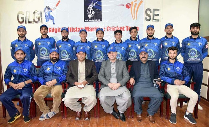 Gilgit-Baltistan Markhor cricket team and official in a group photo graph with CM GB Khalid Khursheed and Information Minister Fatahullah Khan and Tourism Minister Raja Nasir Ali Khan