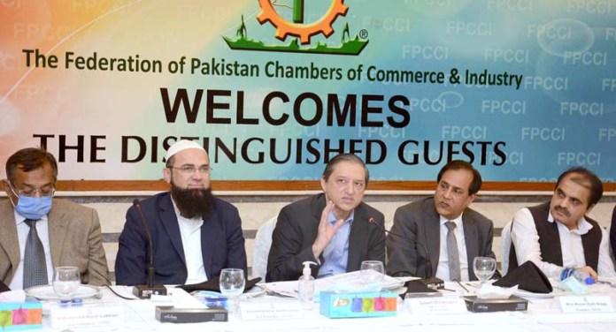 Deputy Chairman Senate Senator Saleem Mandviwala addressing to the members of FPCCI during his visit at FPCCI