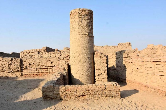 A view of D.K area of Mohenjo-Daro (Mound of dead) remains of the most impressive city of the Indus Valley Civilization, located 28 kilometers south of Larkana in Sindh