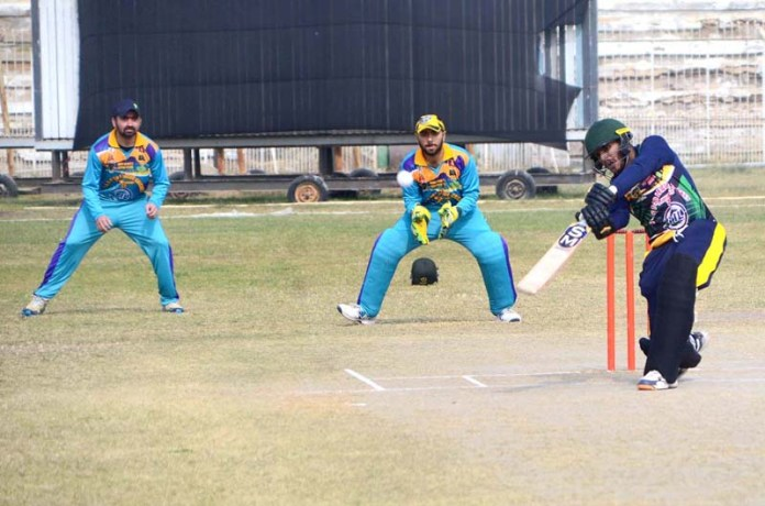 Players in action during cricket match between Agha Khan Cricket Club & Agha Sports during all Pakistan S & S T-20 League Cricket Championship 2021 at Niaz Cricket Stadium