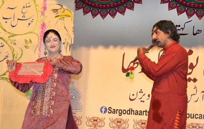 Artists performing in drama on stage on late Monday night as Punjab Council of Arts Sargodha celebrating Sargodha Day at Punjab Council of Arts Sargodha