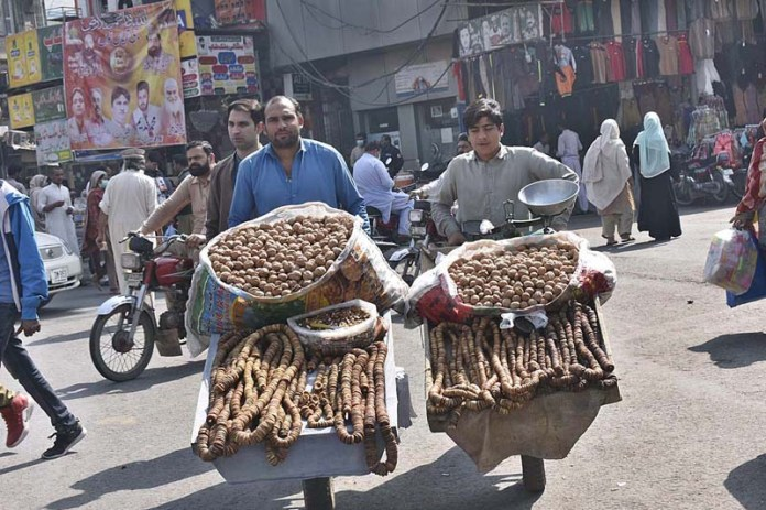 Two dried fruit vendors on their way in search of customers