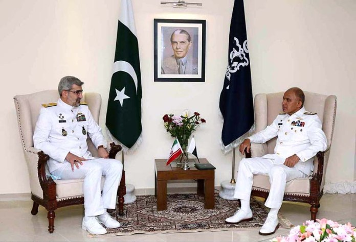 Southern Fleet Commander Iranian Navy Cdre Arya Shafaqat called on Chief of the Naval Staff Admiral Muhammad Amjad Khan Niazi during ongoing Multinational Exercise AMAN-21