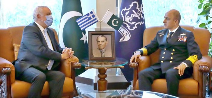 Chief of the Naval Staff, Admiral Muhammad Amjad Khan Niazi exchanging views with Ambassador of Greece to Pakistan, H.E. Mr Andreas Papastavrou at Naval Headquarters