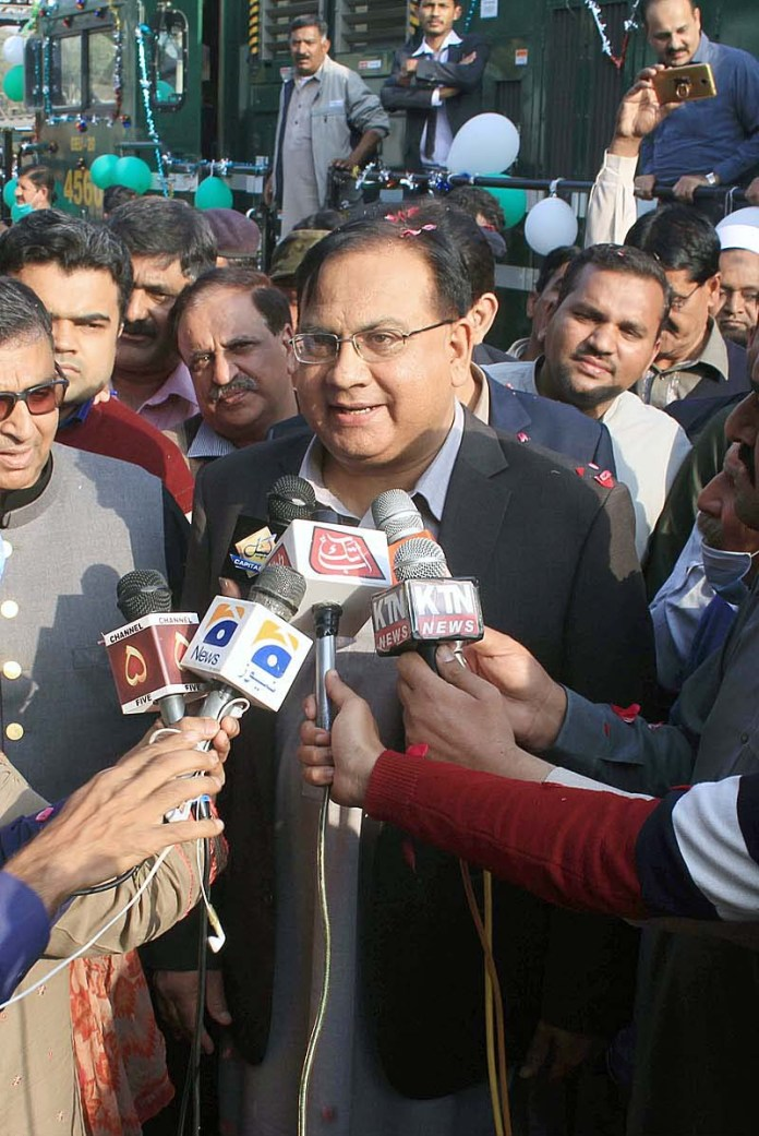 DS Railway Naveed Mubashar talking to media persons after inaugurating Musa Pak Shaheed passenger train the train was closed during lockdown