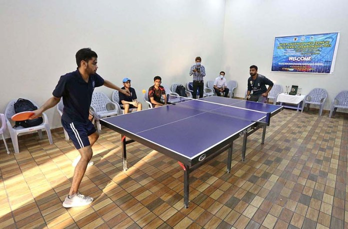 A view of table tennis final match between University of Sindh and MUET Jamshoro during Inter University HEC Table Tennis Championship 2021