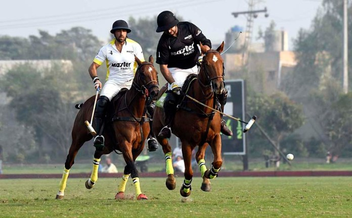View of polo match between Master Paints Vs Master Paintd Black, during Aquafinal Allma Iqbal Polo Cup 2021, the Master Paints won by 13.5 - 12