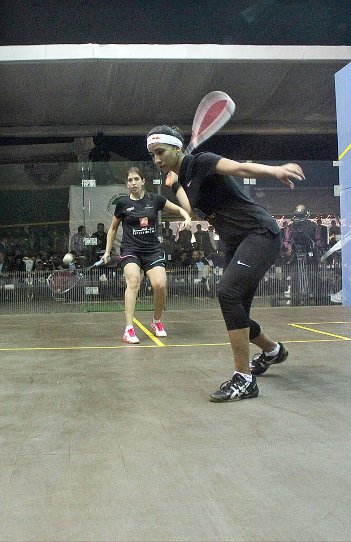A view of final squash match playing between Noran Gohar and Yasrab adal from Egypt during BISL 4 & Southern Punjab International Squash Tournament 2021 at DHA Arena