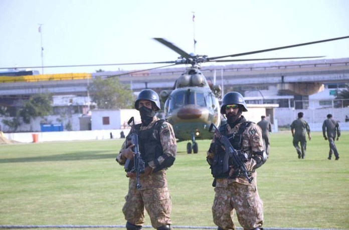 Pakistan Army security official is doing rehearsal ahead of the first T20 cricket match of the Pakistan Super League (PSL) will be played between the Karachi Kings and Quetta Gladiators