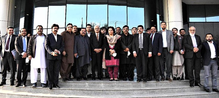 A group photo of country wide representatives of cable operators with Mrs Shahera Shahid Secretary Ministry for Information & Broadcasting and Muhammad Saleem Chairman PEMRA at PEMRA HQs