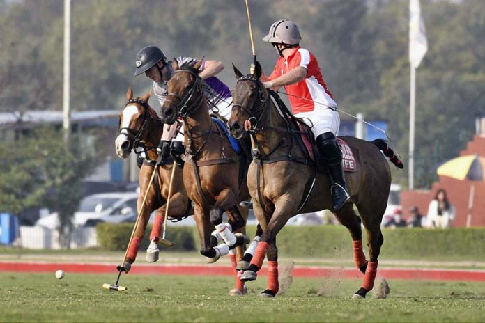 View of match between DS polo / ASC Vs Newage / Jubilee life during the Ittehad Punjab polo cup 2021 at Lahore polo club