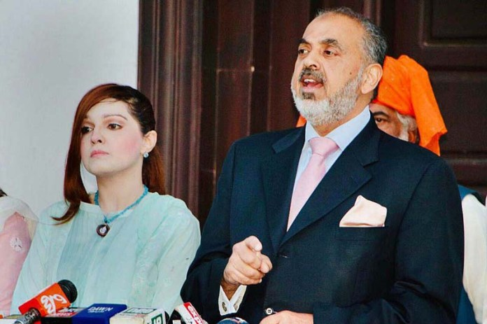Lord Nazir Ahmed and Mrs. Mushaal Hussein Mullick, Chairperson Peace and Culture Organisation and wife of Kashmiri Hurriyat Leader Mohammad Yasin Malik addressing a press conference on current human rights violations in Indian Occupied Jammu and Kashmir