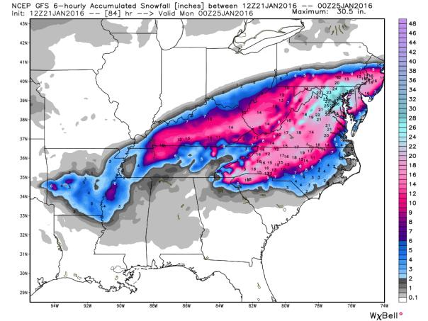 GFS Model Total Snowfall Forecast