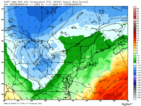 NAM Model Temp & Wind Field Forecast At 7 AM