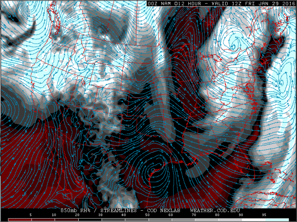 NAM Model 850 MB Wind Streamlines & RH Forecast