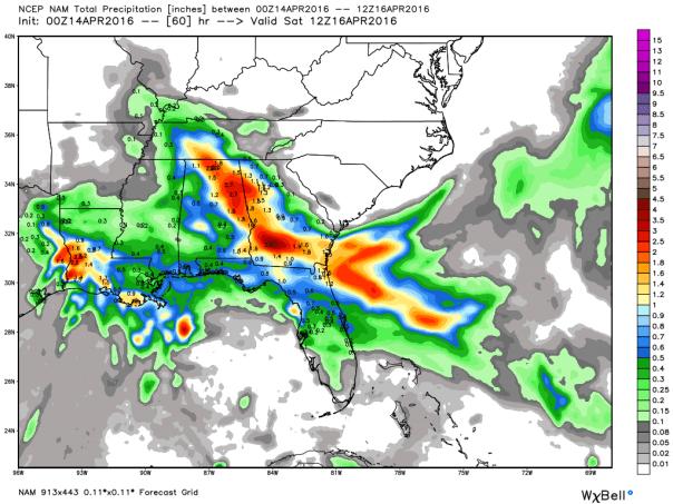 NAM 12 KM Model Total Rainfall Forecast