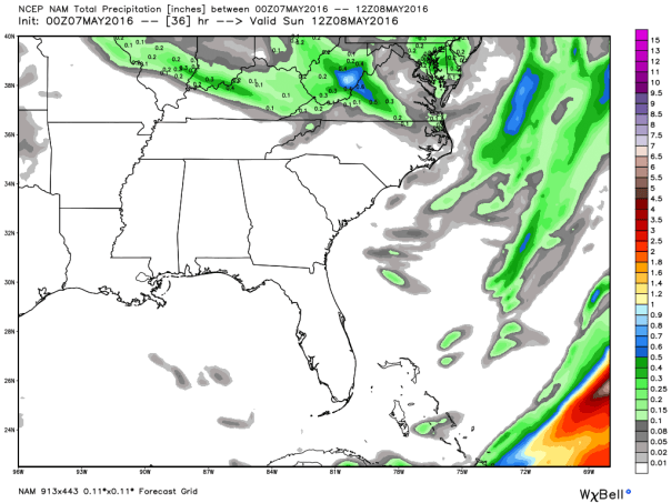 NAM 12 KM Model Total Rainfall Forecast Up To 8 AM Sunday