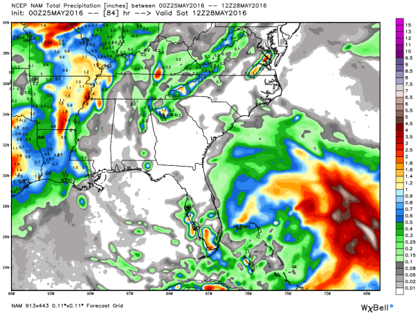 NAM 12 KM Model Total Rainfall Forecast Next 84-Hours
