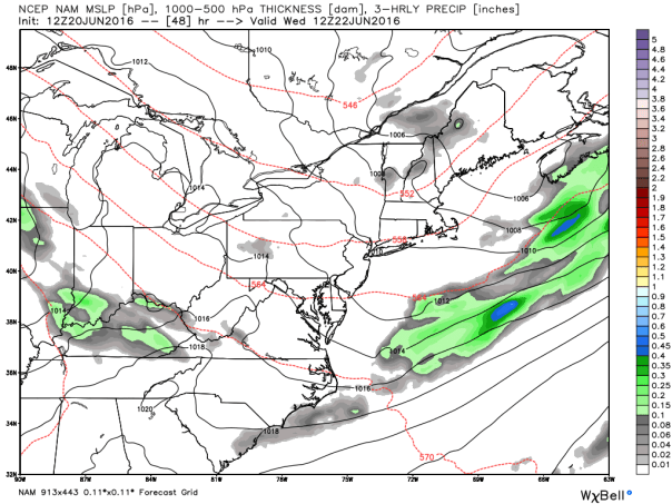 NAM 12 KM Model 1000-500 MB Thickness Forecast