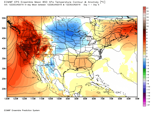 European Model 51-Member 850 MB TEMP Anomalies