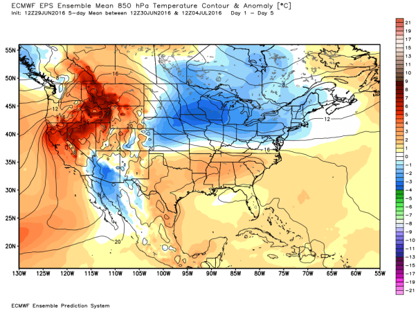 European Model 51-Member Ensemble MEAN 850 MB Temp Anomalies