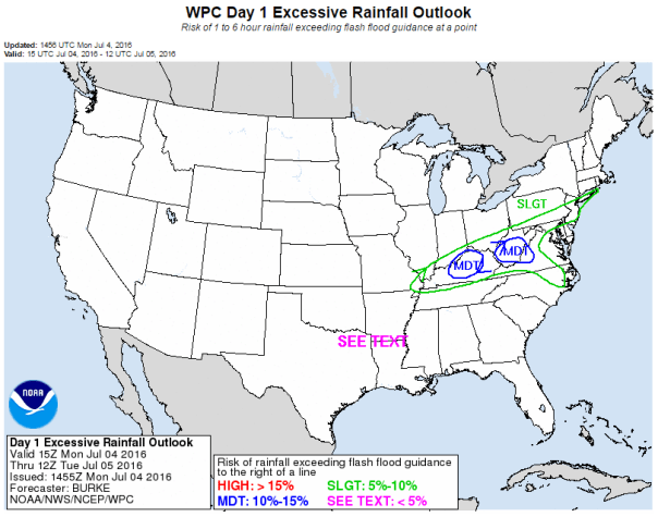 Excessive Rainfall Potential Corridor