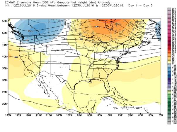 European 51-Member Ensemble MEAN 500 MB Height Forecast