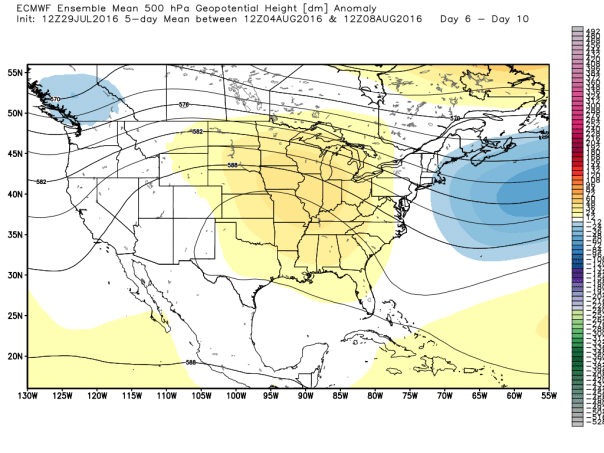 European 51-Member Ensembles MEAN 500 MB Height Forecast