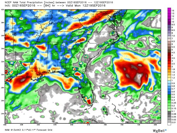NAM 12 KM Model Total Rainfall Forecast Next 84-Hours
