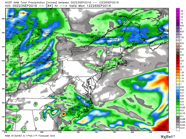 NAM 12 KM Model Total Rainfall Next 84-Hours