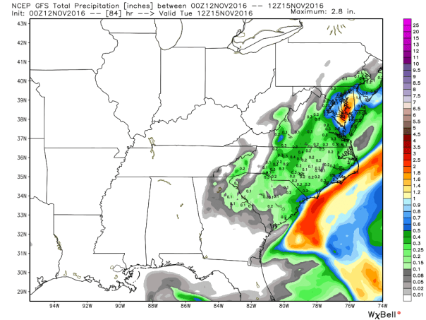 GFS Model Total Precipitation Forecast Next 84-Hours