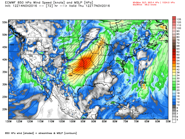 European Model MSLP and 850 MB Forecast