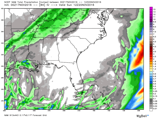 NAM 12 KM Model Total Precipitation Forecast