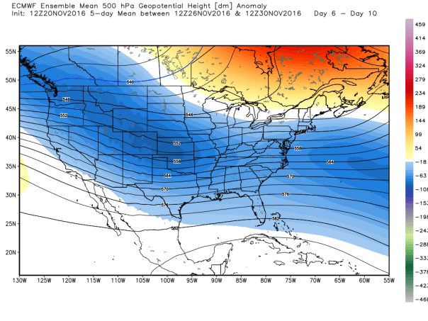 European Ensembles MEAN 500 MB Height Anomalies