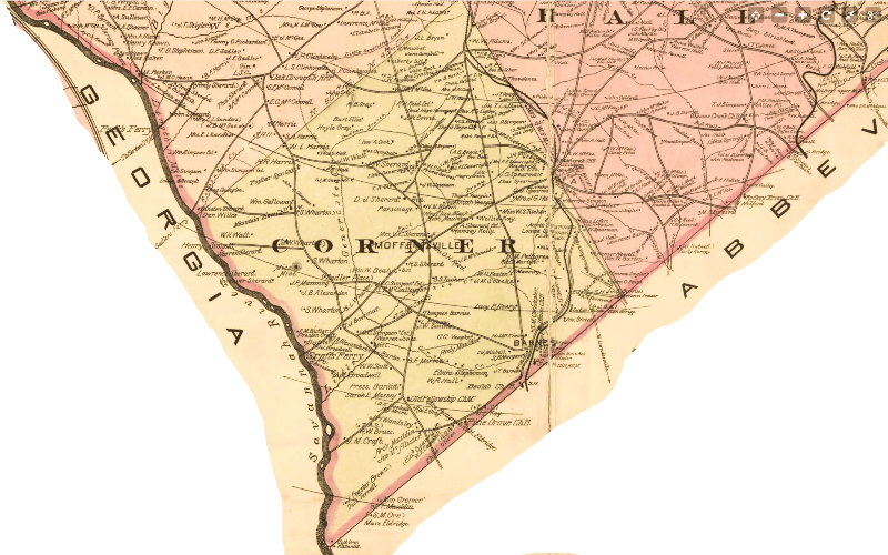 1897 map of Anderson County, South Carolina shows how the 'dark corner' region of the county had by this time simply become the 'corner.'